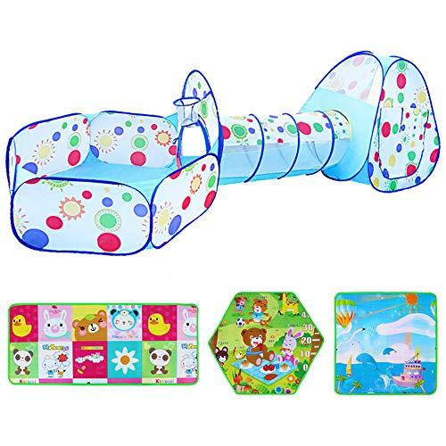 NQAZ 3 en 1 Corralito portátil para bebés Piscina de Bolas para niños recién Nacidos Túnel de Tienda de Patio de Juegos Valla de Juguetes para Interiores y Exteriores-Azul-1_con Alfombra