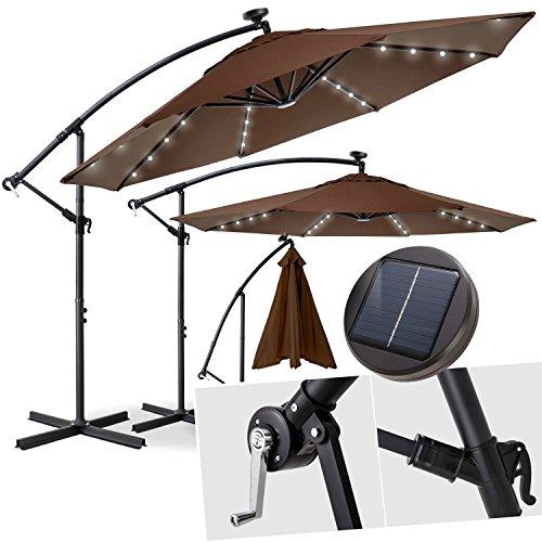 Kesser® Alu Ampelschirm Ø 300 cmLED mit An-/Ausschalter Solarpanel Kurbelvorrichtung UV-Schutz Aluminium Wasserabweisende Bespannung - Sonnenschirm Schirm Gartenschirm Marktschirm Braun