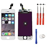 Mobofix Touch Screen Digitizer Assembly Replacement for iPhone 5S White Glass LCD Display Free Repair Tool Kits Screen Protector Film Pantalla LCD Reemplazo para iPhone 5s Blanco
