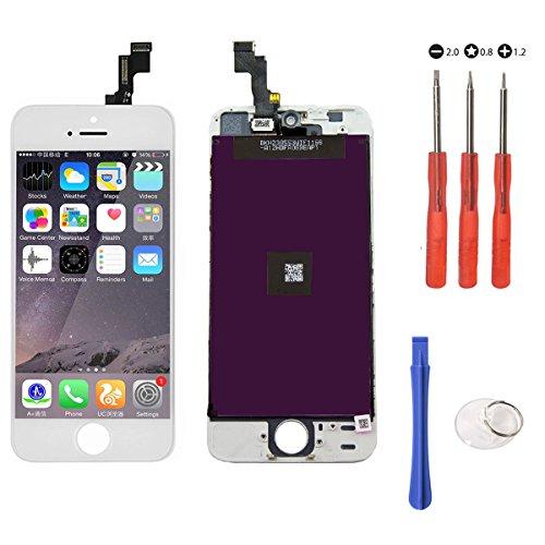 XcellentFixParts Écran Tactile Screen de LCD Remplacement pour iPhone 5S (Blanc) Tactile Reparation Screen Complet avec Full Assembly Repair et Protecteur d'écran