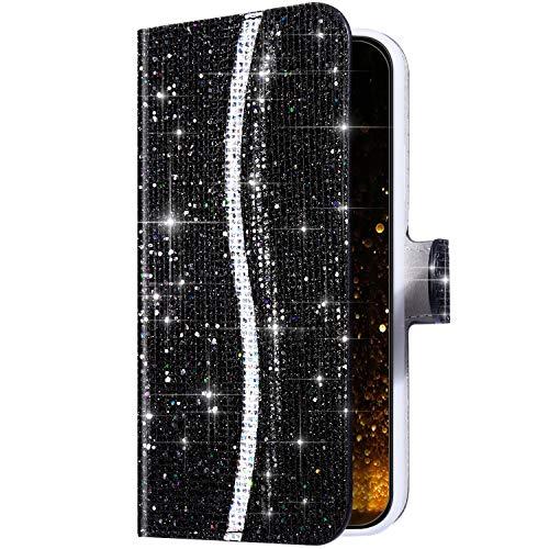 Uposao Kompatibel mit Samsung Galaxy Note 10 Hülle Wallet Handyhülle Bunt Glitzer Bling Strass Diamant Muster Lederhülle Schutzhülle Brieftasche Klapphülle Flip Case Magnet Kartenfächer,Schwarz
