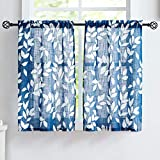 Treatmentex Blue White Kitchen Curtains 24' Small Tier Curtains Bathroom Basement Window Curtain Set Navy Leaf Print Café Curtains 2 Panels