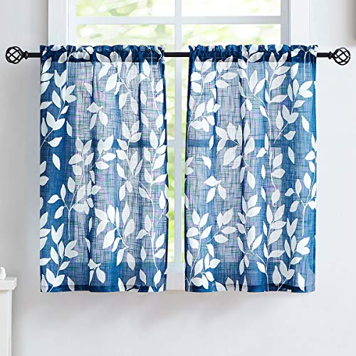 "Treatmentex Blue White Kitchen Curtains 24"" Small Tier Curtains Bathroom Basement Window Curtain Set Navy Leaf Print Café Curtains 2 Panels"