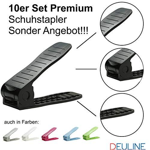 Deuline 10 x Verstellbarer Schuhregal Schuhstapler schuhaufbewahrung Schuhorganizer Schuhhalter Farbe: Schwarz