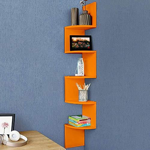 BAKAJI Libreria Scaffale Mensole da Parete Angolare Design Moderno in Legno Melaminico con 5 Ripiani ad Angolo Dimensioni 123 x 20 cm (Arancione)