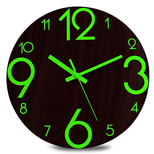 Plumeet Luminous Wall Clock - 12'' Non-Ticking Silent Wooden Clocks with Night Light - Large Decorative Wall Clock for Kitchen Office Bedroom,Battery Operated (Brown Face, Country Rustic)