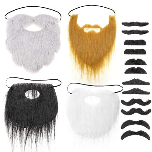 HOWAF 16 Pack Novelty Fake Moustache Beard Self Adhesive Moustaches Set for Masquerade Party Favor Halloween Festival Party Fancy Dress Costume and Performance