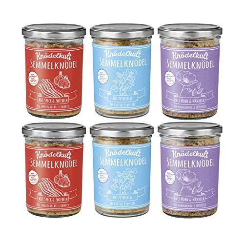 Knödelkult Semmelknödel 6er-TryMe Set je 2x Petersilie/Mohn&Mandeln/Speck& Zwiebeln | Knödel aus gerettetem Brot, Deftig bis Süß und von Fleisch bis Vegan | [Umweltfreundlich im Glas]