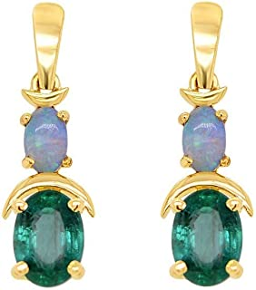Gehna 22k (916) Yellow Gold, Emerald and Opal Drop Earrings for Women
