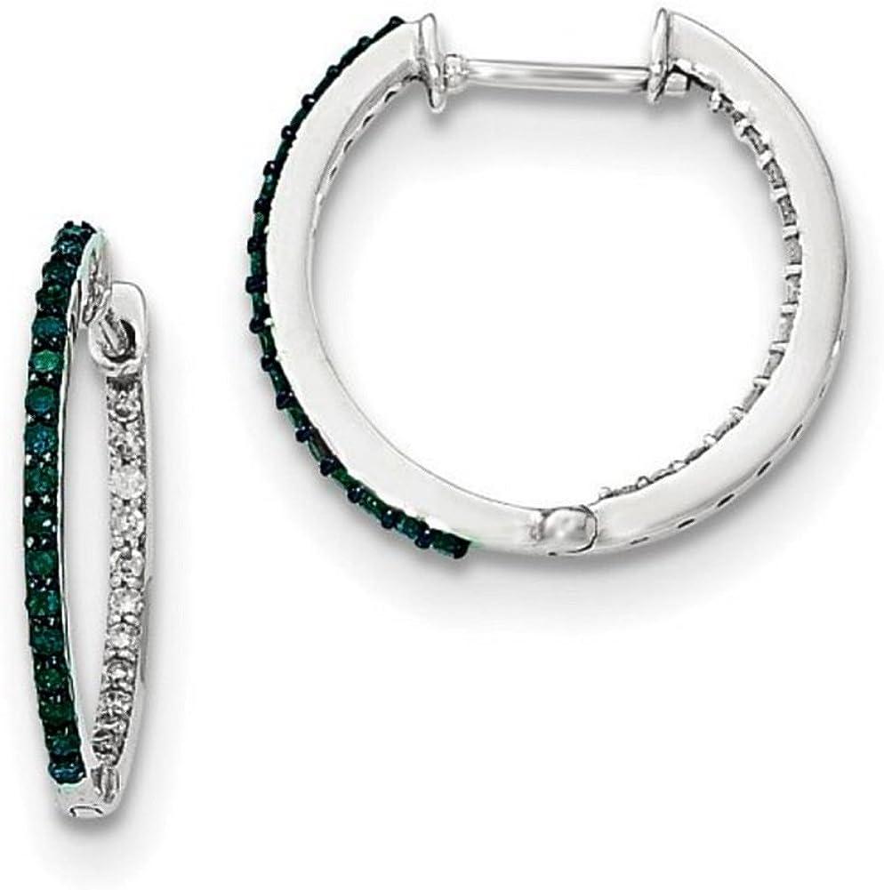 14K White Gold Green and White CZ Hinged Hoop Earrings