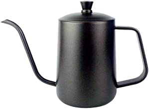 Black Stainless Steel Goose neck Pot With Lid 600ml