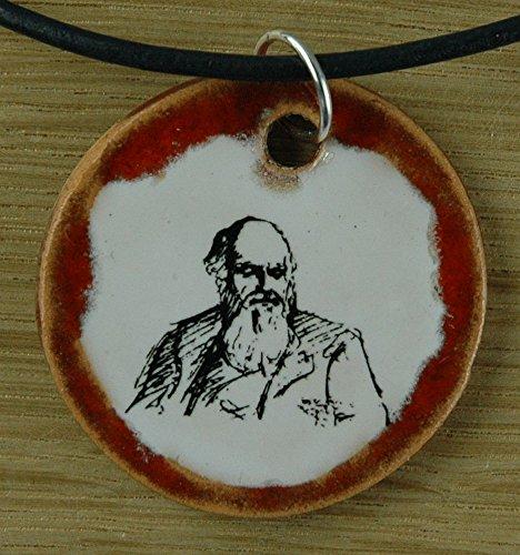 Echtes Kunsthandwerk: Hübscher Keramik Anhänger mit Charles Darwin; Forscher, Biologe, Naturwissenschaftler, Evolution