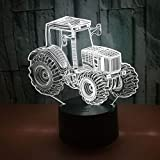 Tractor 3D Car Illusion LED Night Light 7 Clolors Changing Smart Lámpara de mesa Decoración Tienda de regalos Bar Dormitorio Luces