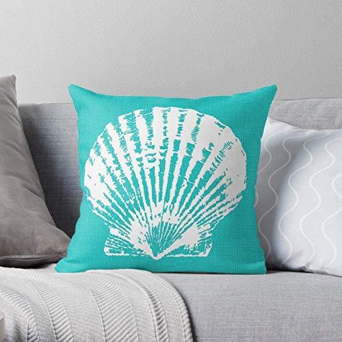 BONRI Ocean Shell Türkisblau Aqua Clam Sea Seafoam Moderne dekorative und leichte weiche Polyester-Kissenbezüge für Schlafzimmer/Wohnzimmer/Sofa Stuhl & Auto 20×20Zoll