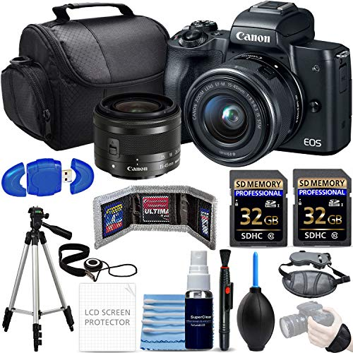 Canon EOS M50 Mirrorless Camera w/15-45mm (Black) + 2X 32GB SD Cards + Tripod + Hand Strap + Deluxe Photo Bundle