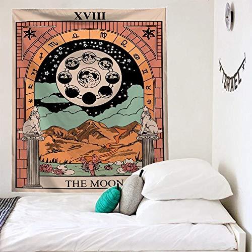 Tapiz de pared de Tarot tapiz de adivinación de fase lunar tapiz de estrellas decoración de dormitorio funda de edredón decoración de pared de sol
