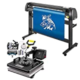 VEVOR Heat Press Machine 15x15 inch 6 in 1 T-Shirt Heat Press and Vinyl Cutter 53 inch Plotter Machine 1350mm PC Only Paper Feed Vinyl Cutter Plotter
