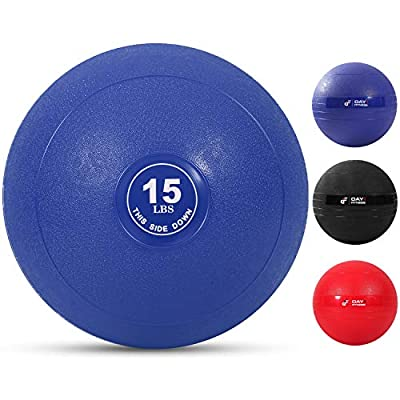 Weighted Slam Ball by Day 1 Fitness – 15 lbs NAVY - No Bounce Medicine Ball - Gym Equipment Accessories for High Intensity Exercise, Functional Strength Training, Cardio, CrossFit