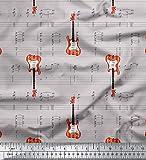 Soimoi Grau Baumwoll-Popeline Stoff Noten & Gitarre