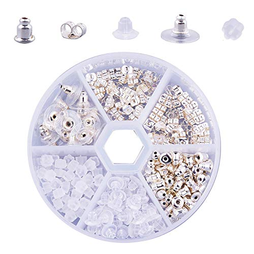 260 Stücke Ohrring-Verschlüsse, Ohrring Rücken Stopper, Kunststoffe Metall Ohrring Stopper Verschlusse, DIY Schmuck Fitting, mit Aufbewahrungsbox, für Alle Arten von Ohrringen(Silber)