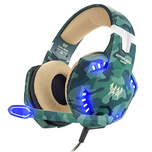 BIBOX G2600 Stereo Gaming Headset, Camouflage Comfortable Over Ear Headphones 3.5mm Jacks with Noise Cancelling Mic & LED Light for PC/Laptop/PS4/Xbox One with 2 to 1 Adapter Cable