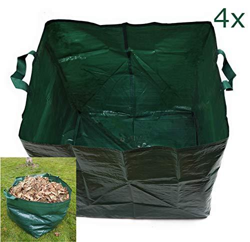 Pilix Laubbeutel 150 l 4X   Laubsack faltbar   2 Griffe   Wasserabweisend   Strapazierfähig   Grünabfall Behälter   Garten Faltsack   grüner Faltbarer Grasschnitt Sack für Grünschnitt, Unkraut