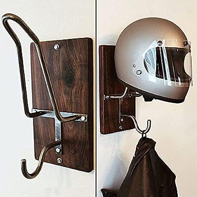 Motorcycle Helmet Rack & Jacket Hook,Helmet Holder Football Helmet Wall Mount Helmet Hanger Motorcycle Helmet Accessories For Coat, Hat, Helmet, Keychain by GEOBY