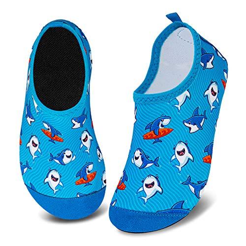 Meias aquáticas infantis para meninos e meninas com secagem rápida antiderrapante para nadar na praia, Little Shark, 12.5-13 Little Kid