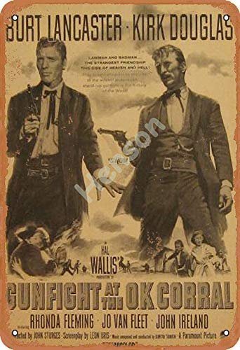 Gunfight At The Ok Corral Tin Sign Wall decor Retro Metal poster Painted Art Decoration Plaque