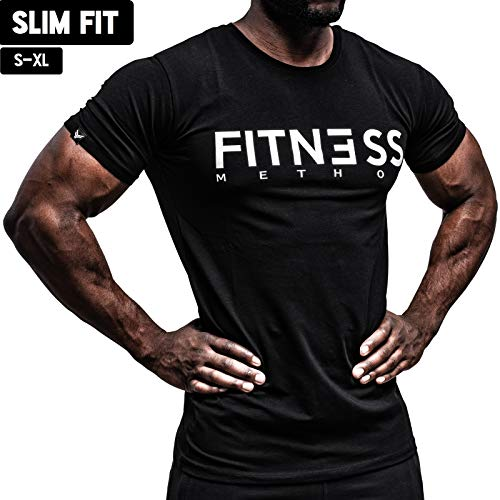 Fitness Method, Sport T-Shirt Herren, Slim-Fit Shirt bequem & hochwertig Männer, Rundhals & Tailliert, Training & Freizeit, Gym & Casual Workout Mann, 95% Baumwolle, 5% Elastan