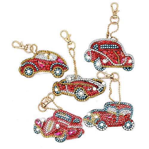 Jestang 5D-Diamant-Malerei-Schlüsselanhänger, Mosaikherstellung, Diamant-Gemälde, Anhänger für Taschen, Auto, 5 Stück