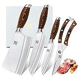 MSY BIGSUNNY Tang Series - Juego de 4 cuchillos de cocina, cuchillo Santoku, cuchillo multiusos, tijeras para aves, acero alemán