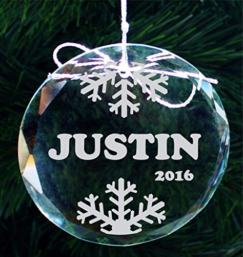 Personalized 2020 Engraved Snowflake Crystal Ornament, Custom Family Ornaments, Christmas Ornaments for Kids, COR006