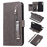 HUDDU Handyhülle Kompatibel mit Samsung Galaxy A7 2018 A750 Hülle Leder Wallet Schutzhülle 5 Kartenfächer Reißverschluss Brieftasche Magnetverschluss Tasche PU Hülle Ständer Lederhülle Wristlet Grau