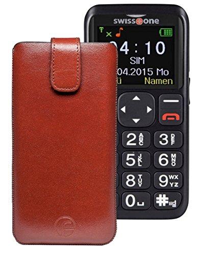 Favory ECHT Ledertasche Leder Etui / Swisstone BBM 515 Tasche (Lasche mit Rückzugfunktion) braun