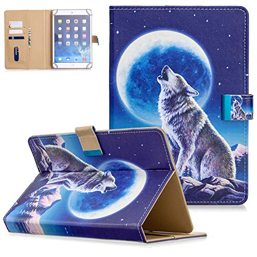 Universal Case for 6.5-7.5' Tablet, UGOcase Slim Magnetic Closure Folio Stand Cover with Cards Holder for Galaxy Tab A 7.0/ Tab 3/Tab E Lite 7.0, Fire 7 2019 & Other 7 Inch Tablet, Wolf & Moon