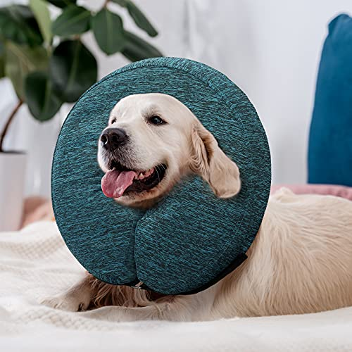 WONDAY Dog Cone for After Surgery, Pet Inflatable Collar Comfy Soft Dog Cone, Adjustable Protective Recovery Dog Collar for Wound Healing and Prevent from Biting & Scratching (Blue,L)