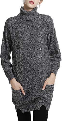 LinyXin Cashmere Dames Winter Cashmere Jumper Jurk Coltrui Lange mouwen Warm Pullover Gebreide wollen trui Knitwear Tops