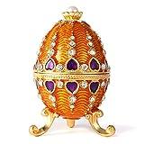 QIFU Boîte à bijoux vintage peinte à la main en forme d'œuf de Fabergé avec émail riche et strass étincelants, cadeau unique pour la décoration de la maison, ornement décoratif de votre collection.