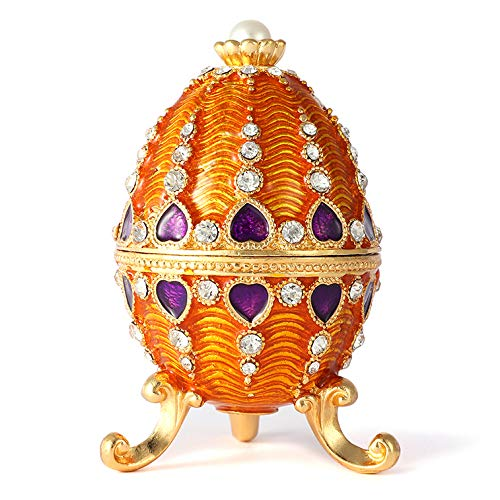 QIFU Vintage Style Hand Painted Faberge Egg Shape Jewelry Trinket Box with Rich Enamel and Sparkling Rhinestones Unique Gift Home Decor