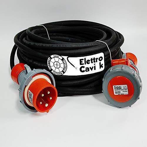 ELETTRO CAVI K - PROLUNGA ELETTRICA INDUSTRIALE 25 METRI PROFESSIONALE CAVO H07RN-F 5G2.5 MM² 5 POLI CAMPER CAMPEGGIO CANTIERE BARCA SPINA E PRESA 3P+N+T IP67 16 A 380 V PORTATA 6 KW