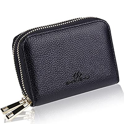 SHANSHUI RFID Blocking Primely Genuine Leather Credit Card Wallet for Women