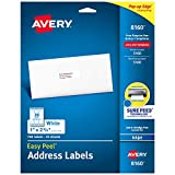 Avery Address Labels with Sure Feed for Inkjet Printers, 1' x 2-5/8', 750 Labels, Permanent Adhesive (8160) - 08160, White