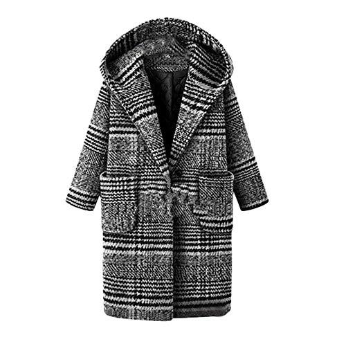 Logobeing Chaquetas Mujer Invierno Tallas Grandes Abrigo Sudaderas Jersey Suéter Cardigan Mujer Abrigo Enrejado Abrigo Cálido Abrigo de Lana Outwear (5XL, Negro)