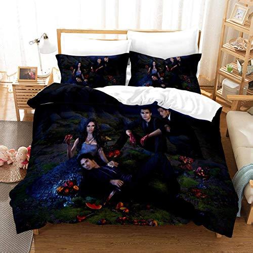 QWAS Ropa de cama Vampire Diaries, 100% microfibra, suave y transpirable, (L4,200 x 200 cm + 80 x 80 cm x 2).