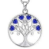 YL Collar Árbol de la Vida para Mujer Plata de Ley 925 Colgante de Árbol Genealógico de Espinela Azul con Piedra Natal de Septiembre, 45 + 3 CM