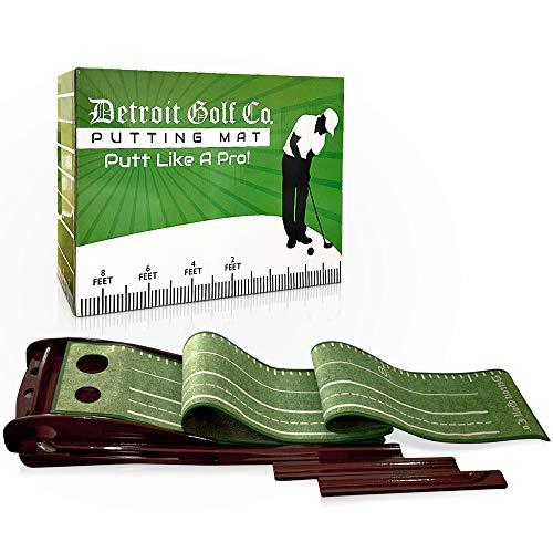 Detroit Golf Co. PUTT Like A PRO! Wood Golf Putting Green Mat with Automatic Ball Return