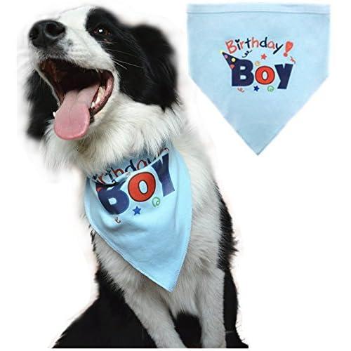 BINGPET Dog Birthday Bandana Pet Scarf For Small Medium Large Dogs Accessories Dress Blue