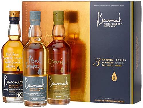 Benromach Trio Whisky Geschenk in Geschenkpackung 10 Years, Organic, Peat Smoke (3 x 0.2 l)