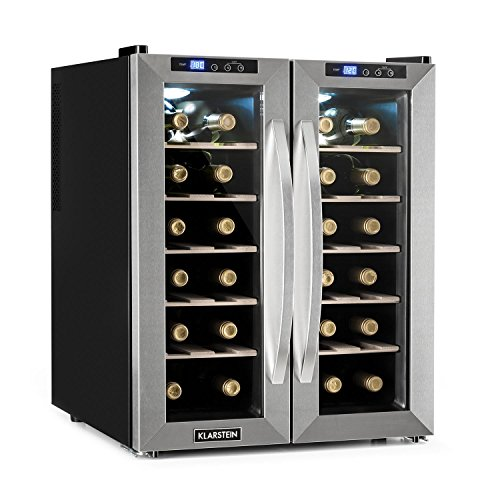 Klarstein SaloonNapa Wine Cooler Deluxe Edition- Refrigerator, Fridge, 67 L, 24 Wine Bottles, 2 Glass Doors, 11-18°C, Separate Temp. Settings is Possible, Touch Sensitive, Stainless Steel